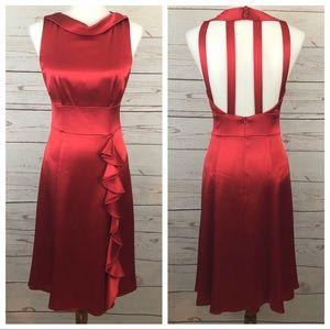 Nanette Lepore Red Satin Ruffle Open Back Dress